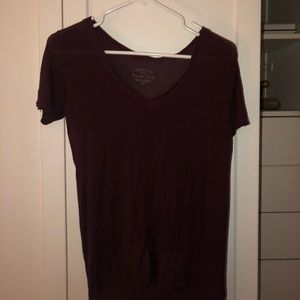 maroon short sleeve shirt